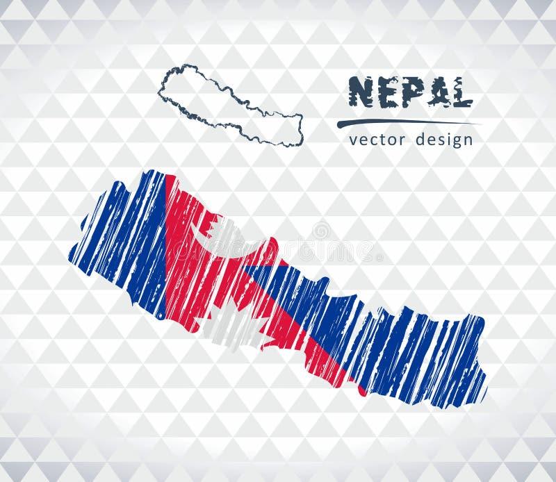 Carte de vecteur du Népal avec l'intérieur de drapeau d'isolement sur un fond blanc Illustration tirée par la main de craie de cr illustration libre de droits