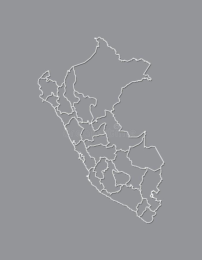 Carte de vecteur du Pérou avec des lignes de frontière des régions utilisant la couleur grise sur l'illustration foncée de fo illustration libre de droits