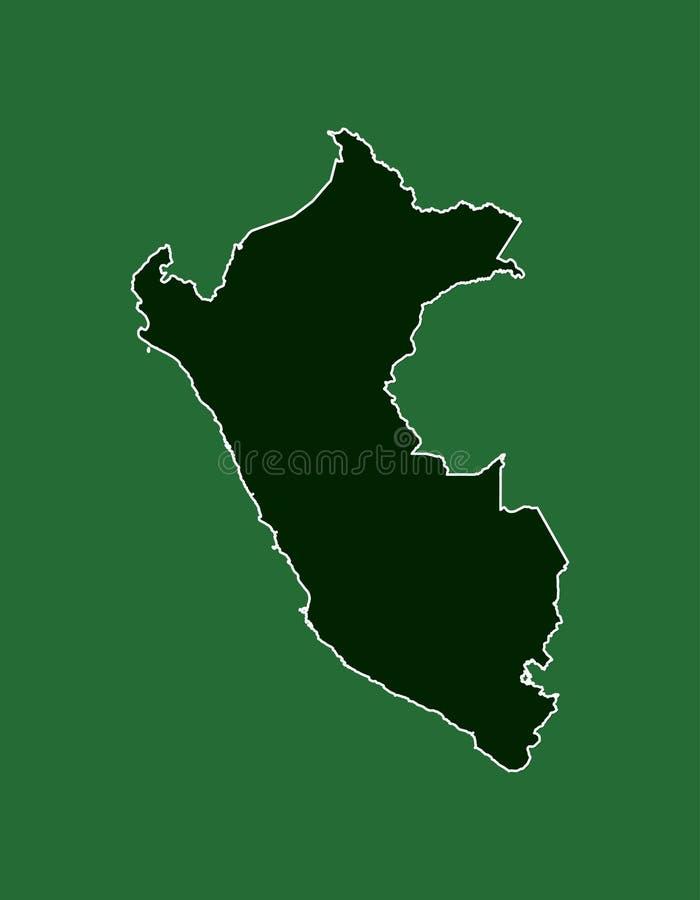 Carte de vecteur du Pérou avec la ligne de frontière simple frontière utilisant le secteur de couleur verte sur l'illustration illustration de vecteur
