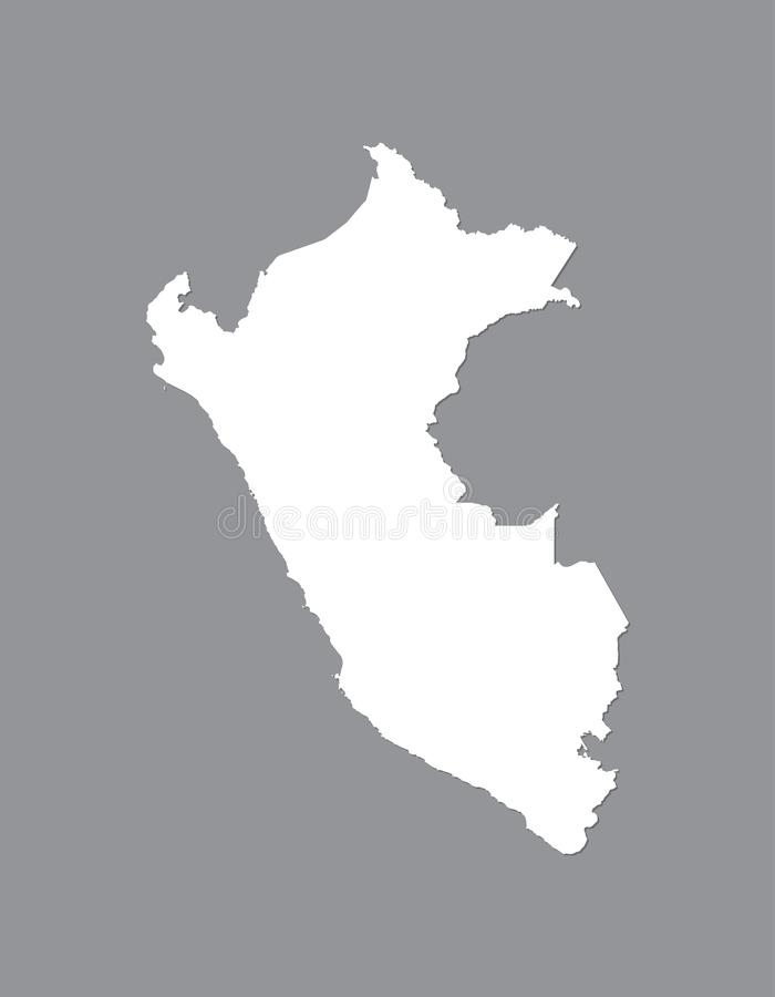 Carte de vecteur du Pérou avec la région terrestre intégrée utilisant la couleur blanche sur l'illustration foncée de fond illustration stock