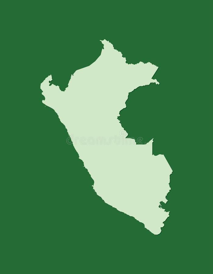 Carte de vecteur du Pérou avec la seule région terrestre utilisant la couleur verte sur l'illustration foncée de fond illustration stock