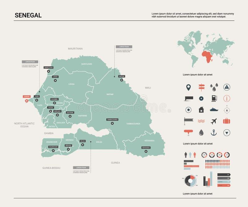 Carte de vecteur du Sénégal l carte, carte du monde, éléments infographic illustration stock