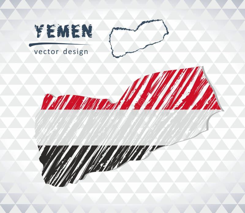 Carte de vecteur du Yémen avec l'intérieur de drapeau d'isolement sur un fond blanc Illustration tirée par la main de craie de cr illustration stock