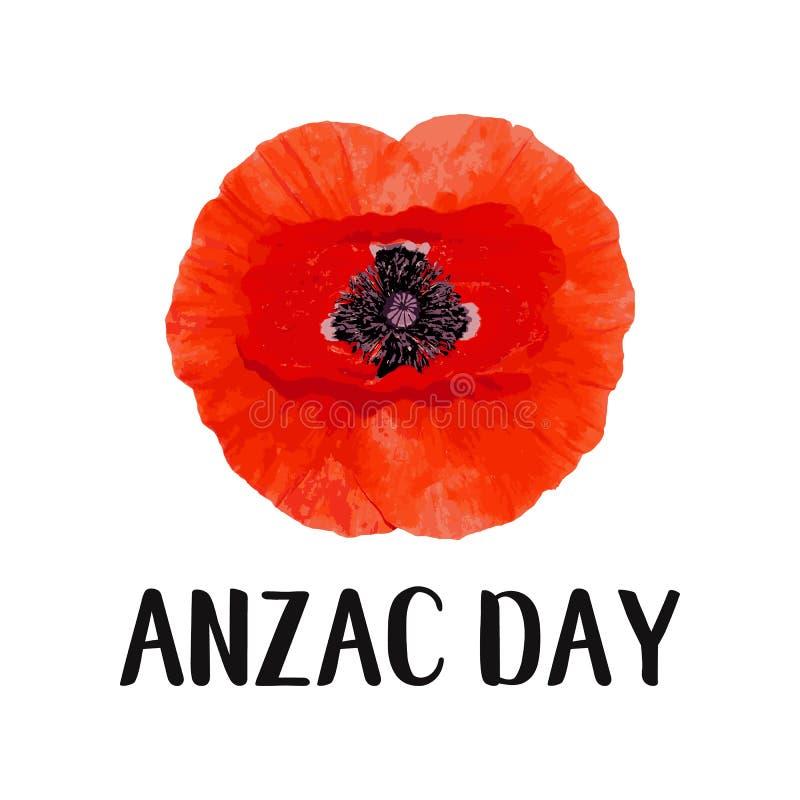 Carte de vecteur de jour d'Anzac Fleur lumineuse de pavot illustration libre de droits