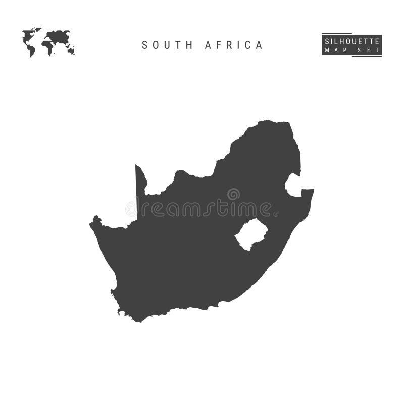 Carte de vecteur de l'Afrique du Sud d'isolement sur le fond blanc Carte noire Haut-détaillée de silhouette de l'Afrique du Sud illustration stock