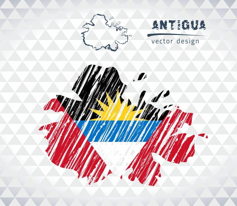 Carte de vecteur de l'Antigua avec l'intérieur de drapeau d'isolement sur un fond blanc Illustration tirée par la main de craie d illustration stock
