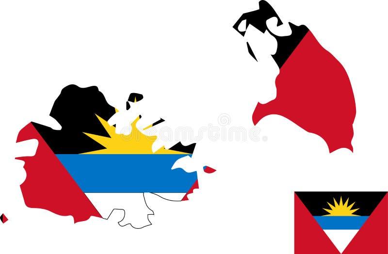 Carte de vecteur de l'Antigua-et-Barbuda avec le drapeau fond d'isolement et blanc illustration de vecteur