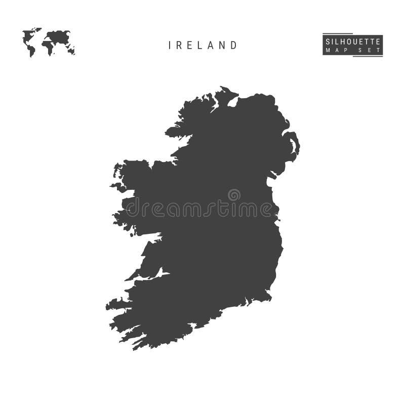 Carte de vecteur de l'Irlande d'isolement sur le fond blanc Carte noire Haut-détaillée de silhouette de l'Irlande illustration stock