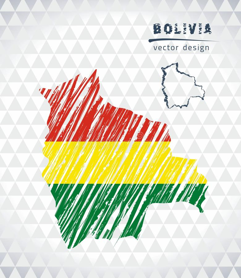 Carte de vecteur de la Bolivie avec le drapeau à l'intérieur sur un fond blanc Illustration tirée par la main de craie de croquis illustration libre de droits