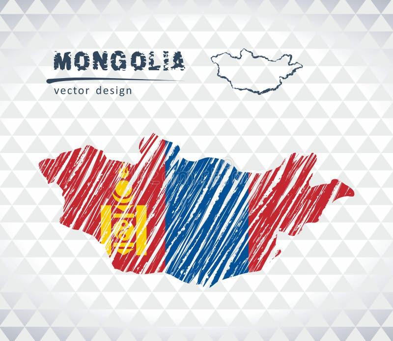 Carte de vecteur de la Mongolie avec l'intérieur de drapeau d'isolement sur un fond blanc Illustration tirée par la main de craie illustration stock