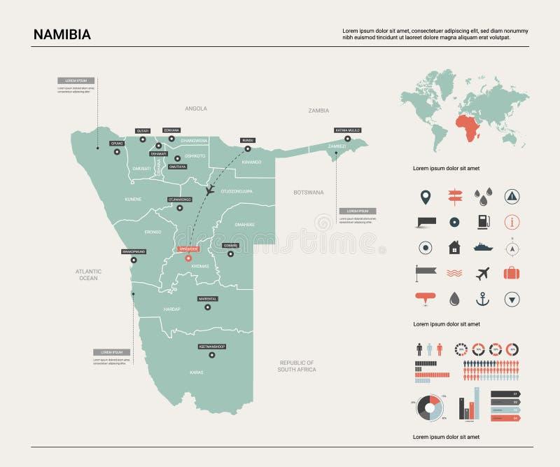 Carte de vecteur de la Namibie illustration libre de droits