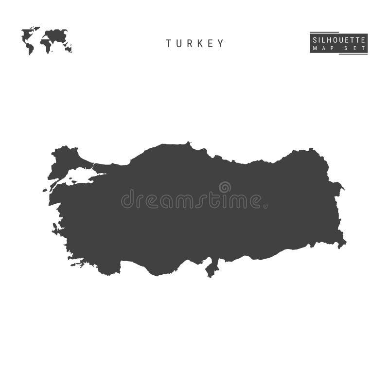 Carte de vecteur de la Turquie d'isolement sur le fond blanc Carte noire Haut-détaillée de silhouette de la république turque illustration libre de droits