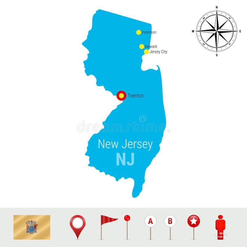 Carte de vecteur de New Jersey d'isolement sur le fond blanc Silhouette détaillée d'état de New Jersey Drapeau officiel de New Je illustration de vecteur