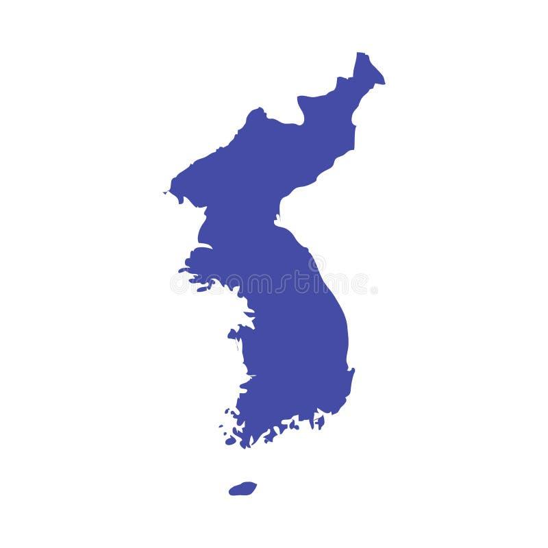 Carte de vecteur de péninsule coréenne Découpe de carte d'United Korea Grand pour des jeux d'hiver matériels illustration de vecteur