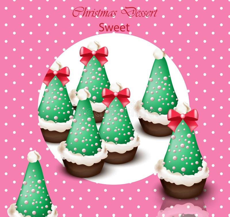 Carte de vecteur de petits gâteaux d'arbre de Noël Rétros milieux pointillés illustration libre de droits