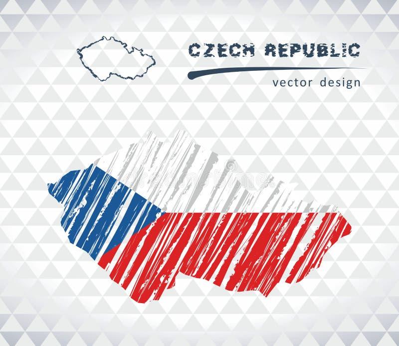 Carte de vecteur de République Tchèque avec l'intérieur de drapeau d'isolement sur un fond blanc Illustration tirée par la main d illustration libre de droits