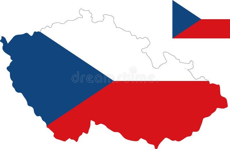 Carte de vecteur de République Tchèque avec le drapeau fond d'isolement et blanc illustration de vecteur