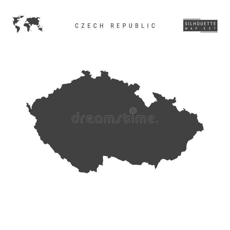 Carte de vecteur de République Tchèque d'isolement sur le fond blanc Carte noire Haut-détaillée de silhouette de Tchèque illustration libre de droits