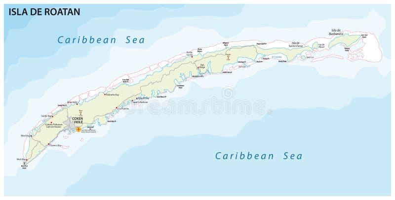 Carte de vecteur de route d'île de Roatan, Honduras illustration de vecteur