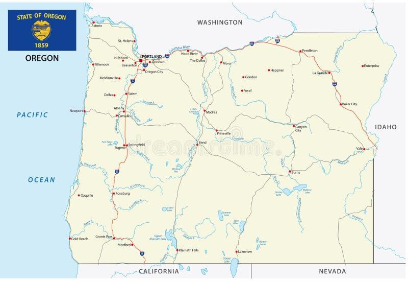 Carte de vecteur de route de l'Orégon avec le drapeau illustration stock
