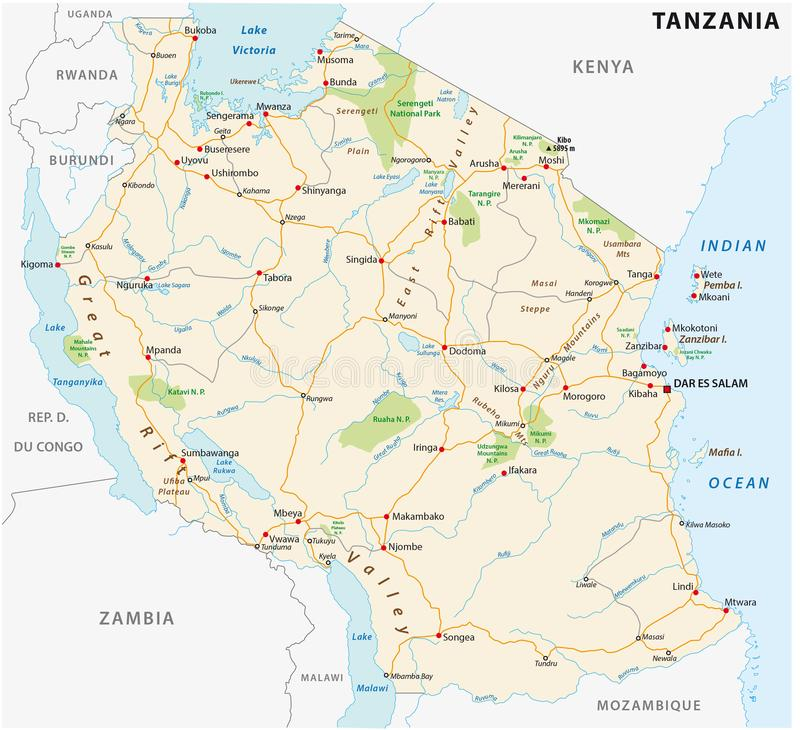 Carte de vecteur de route de la république Unie de Tanzanie illustration libre de droits