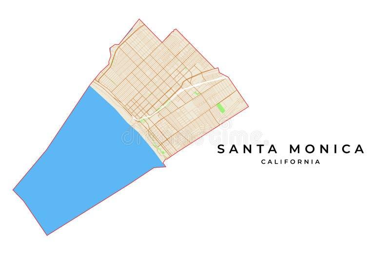 Carte de vecteur de Santa Monica, la Californie, Etats-Unis illustration libre de droits
