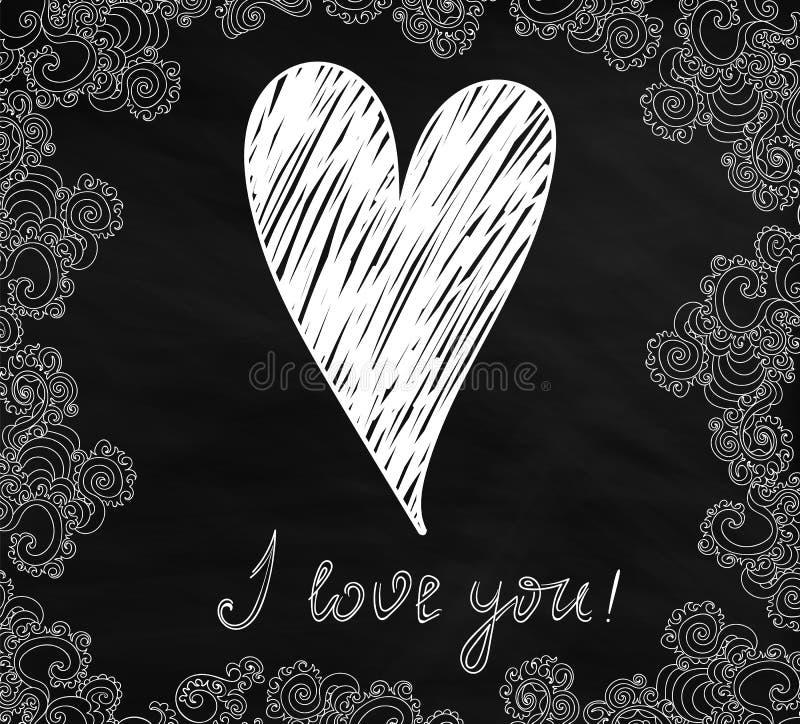 """Carte de vecteur de Valentine avec le coeur manuscrit et les mots """"je t'aime """"dans un cadre figuré ornemental illustration libre de droits"""