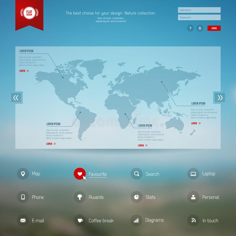 Carte de vecteur, Web et calibre mobile illustration de vecteur