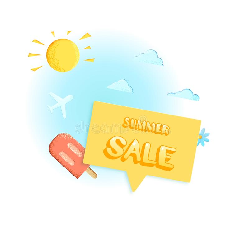 Carte de vente d'été Bannière avec la décoration Illustration de vecteur illustration stock
