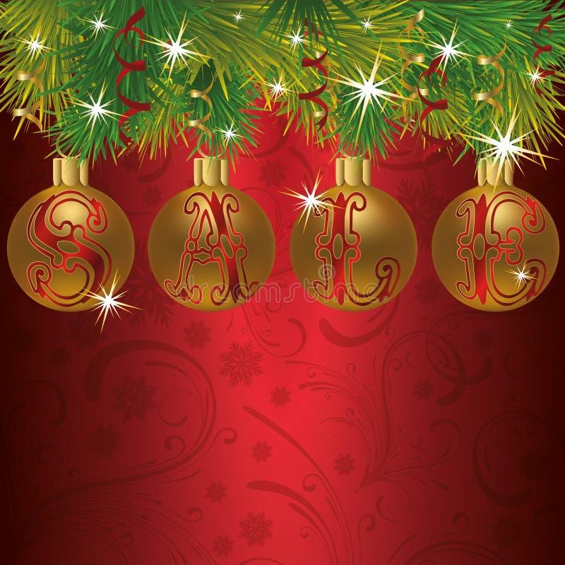 Carte de vente d'hiver avec des boules de Noël illustration de vecteur