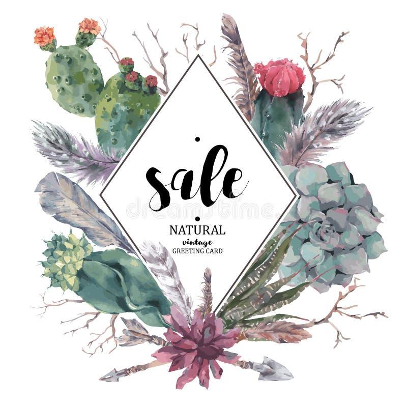 Carte de vente de vintage avec les branches et le succulent illustration stock