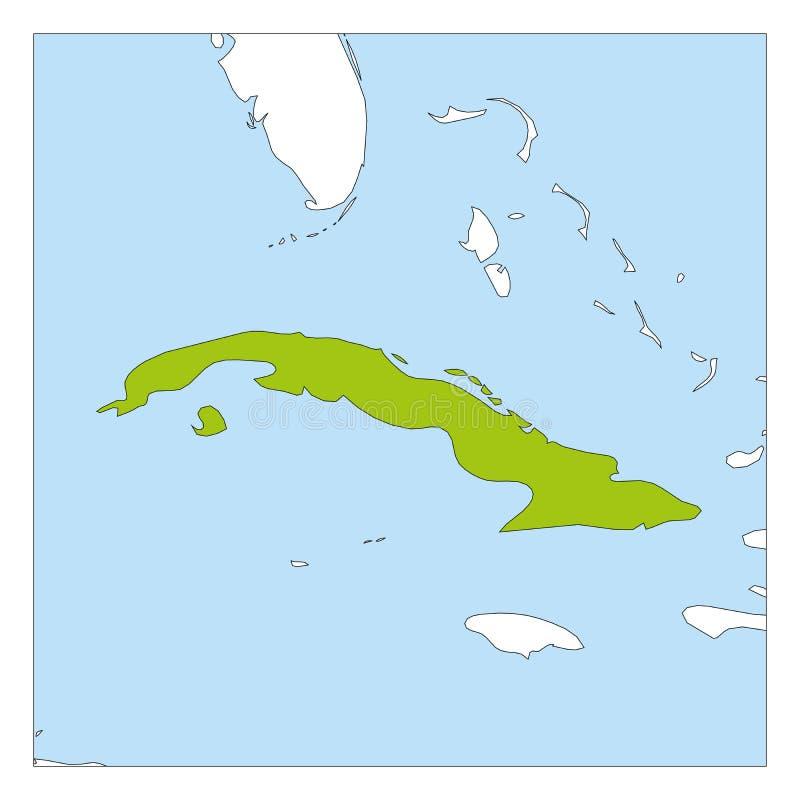 Carte de vert du Cuba accentuée avec les pays voisins illustration stock