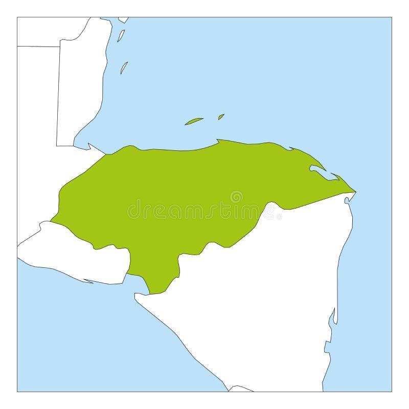 Carte de vert du Honduras accentuée avec les pays voisins illustration de vecteur