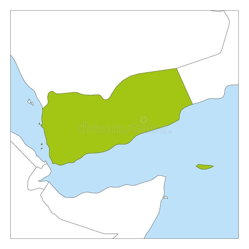 Carte de vert du Yémen accentuée avec les pays voisins illustration stock