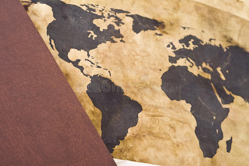 Carte de Vieux Monde avec le livre photos libres de droits