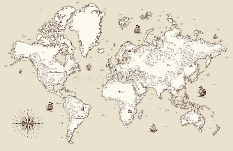 Carte de Vieux Monde avec les éléments décoratifs illustration stock