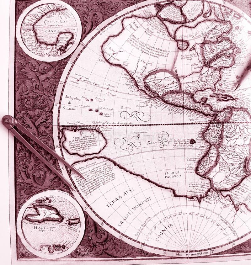 Carte de Vieux Monde, hémisphère de l'ouest image libre de droits