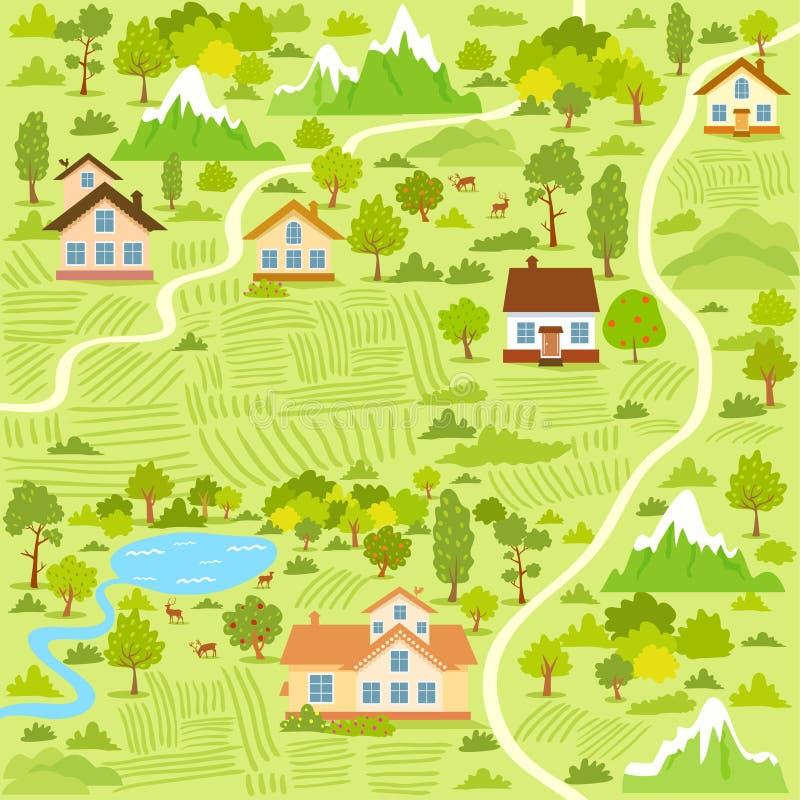 Carte de village illustration de vecteur