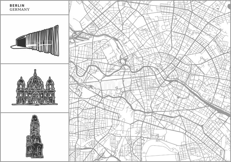 Carte de ville de Berlin avec les icônes tirées par la main d'architecture illustration stock