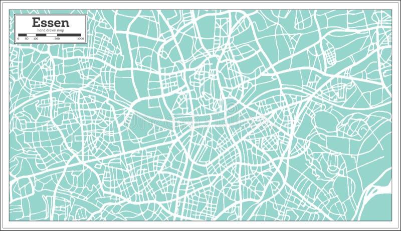 Carte de ville d'Essen Allemagne dans le rétro style Illustration noire et blanche de vecteur illustration libre de droits