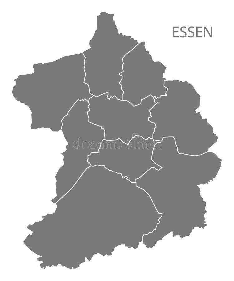 Carte de ville d'Essen avec la forme grise de silhouette d'illustration de villes illustration de vecteur