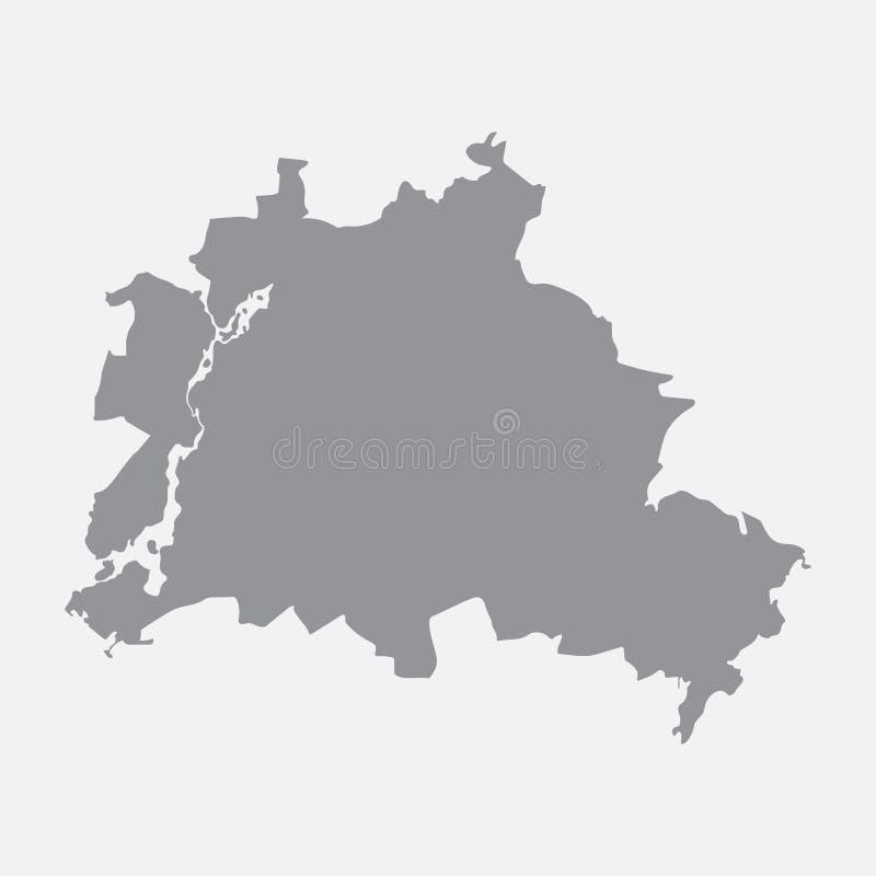 Carte de ville de Berlin dans le gris sur un fond blanc illustration de vecteur