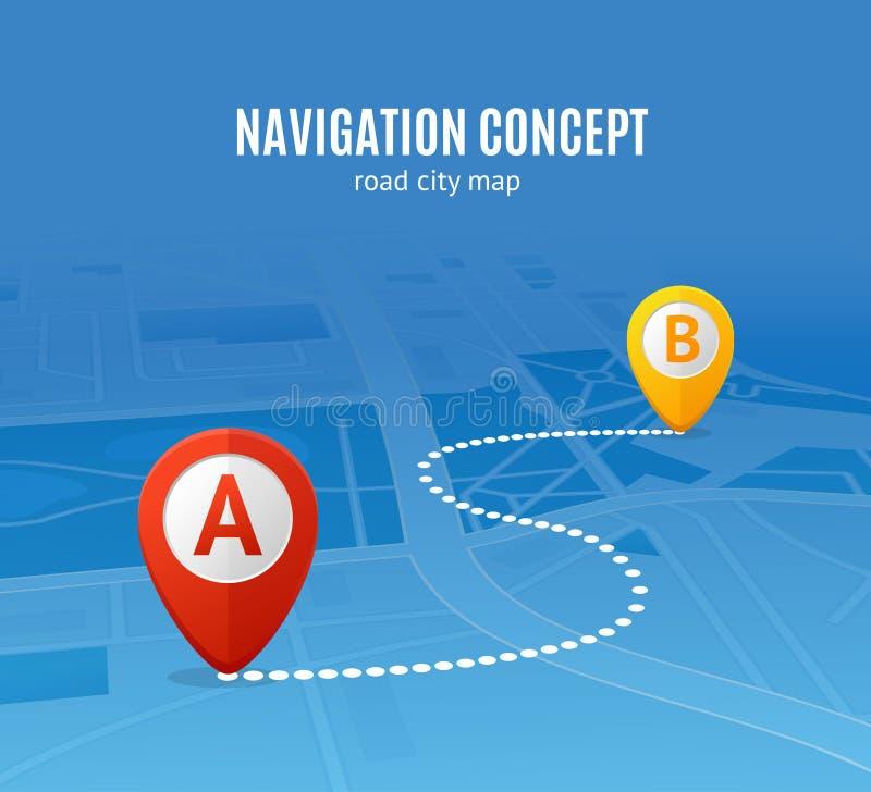 Carte de ville de route de concept de navigation Vecteur illustration libre de droits
