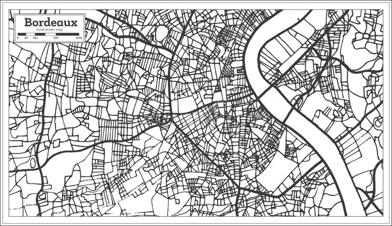Carte de ville de Frances de Bordeaux dans le rétro style Illustration noire et blanche de vecteur illustration de vecteur