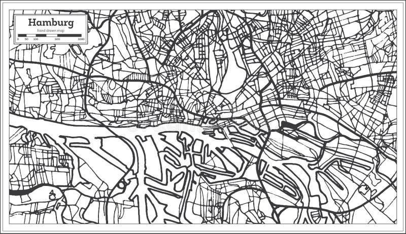 Carte de ville de Hambourg Allemagne dans le rétro style Illustration noire et blanche de vecteur illustration stock