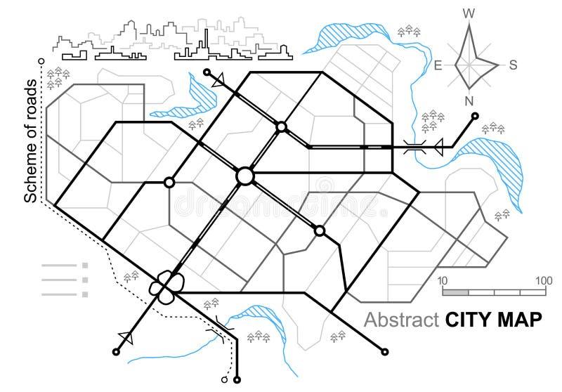 Carte de ville Ligne plan des routes Rues de ville sur le plan Milieu urbain, fond architectural illustration stock