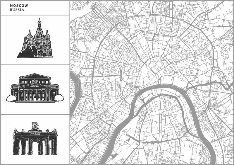 Carte de ville de Moscou avec les icônes tirées par la main d'architecture illustration stock