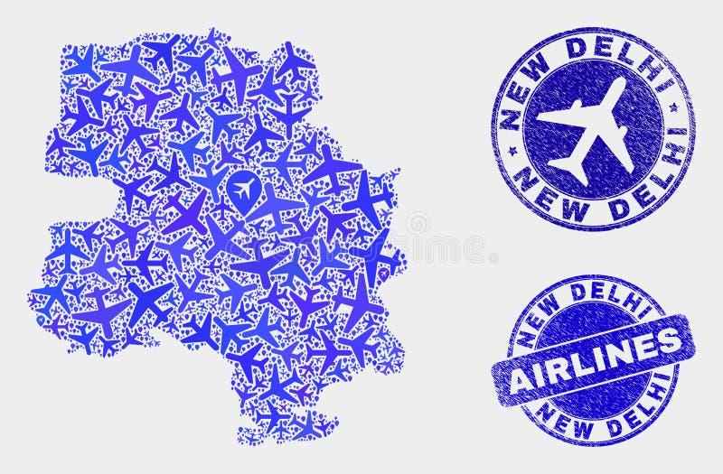 Carte de ville de New Delhi de vecteur de composition en lignes aériennes et timbres grunges illustration stock