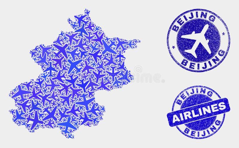 Carte de ville de Pékin de vecteur de composition en ligne aérienne et timbres grunges illustration libre de droits