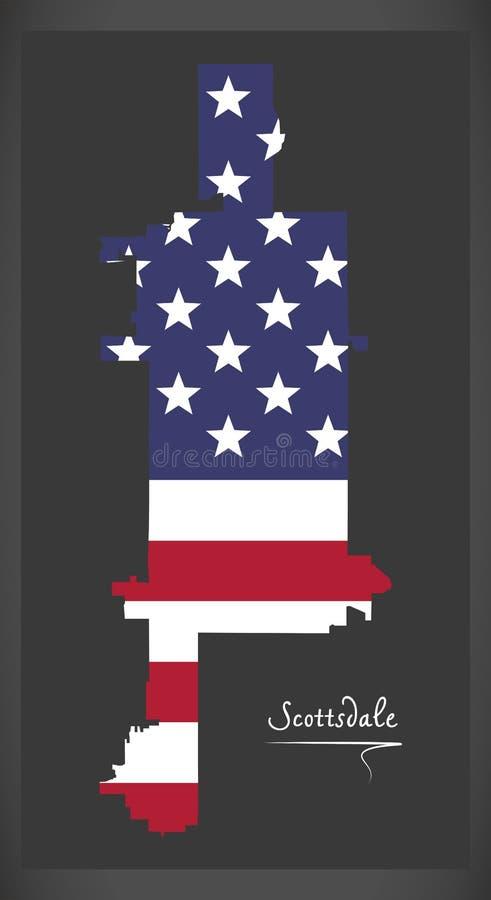 Carte de ville de Scottsdale Arizona avec l'illustration américaine de drapeau national illustration libre de droits